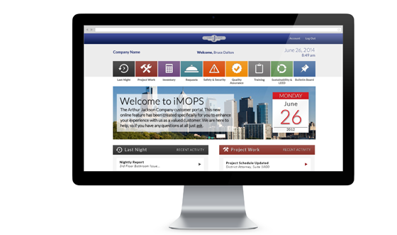 iMops homepage and client dashboard